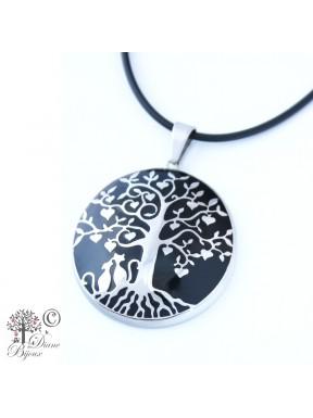 Steel pendant Tree of life enamelled