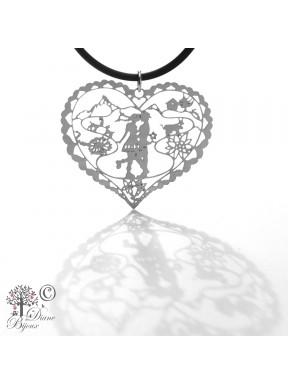 Stainless steel pendant Heidi in Love