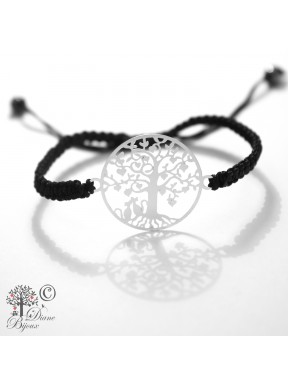 Silver plated bracelet Tree of life adjustable knotted cord