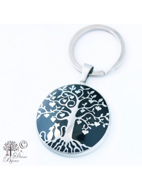 Steel key ring Tree of life enamelled