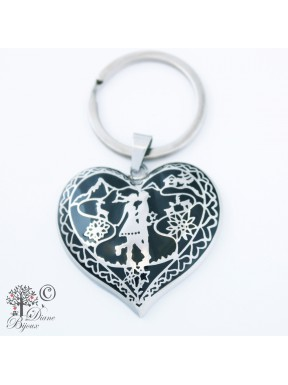 Steel key ring Heidi in Love enamelled