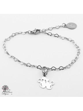 Mini accroche chat + bracelet en acier inox 11mm