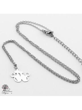 Mini pendentif chat + collier en acier inox 11mm