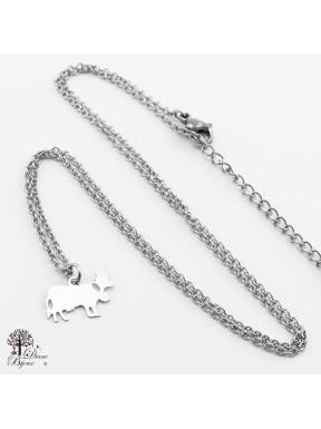 Mini pendentif vache + collier en acier inox 11mm
