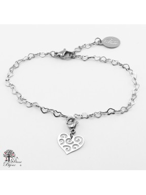 Mini accroche coeur + bracelet en acier inox 11mm