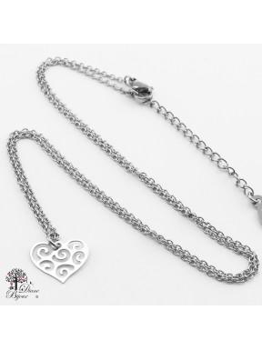 Mini pendentif coeur + collier en acier inox 11mm