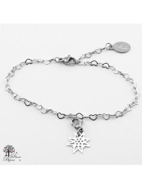 Mini accroche Edelweiss + bracelet en acier inox 11mm