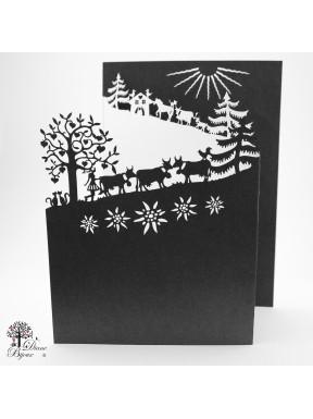 Carte de voeux Poya à 3 volets 13x18.5 cm noir/blanc