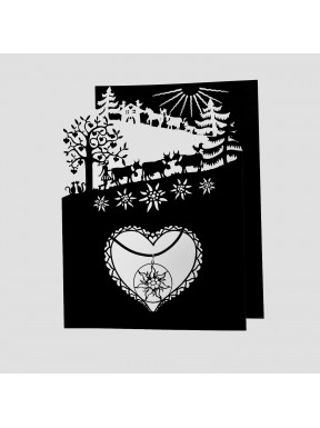 Carte Poya à 3 volets (n/b) avec pendentif Edelweiss