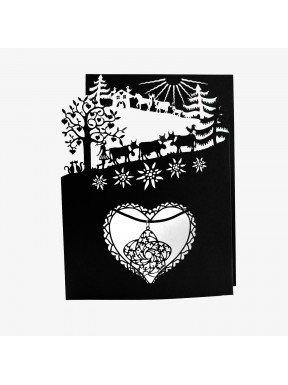 Carte Poya à 3 volets (n/b) avec pendentif Gentiane