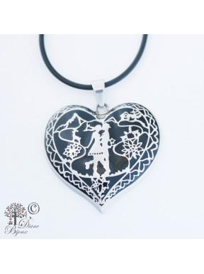 Steel pendant Heidi in Love enamelled