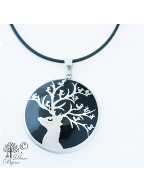 Steel pendant Singing Deer enamelled