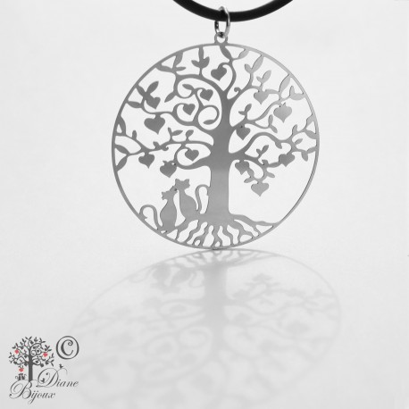 Stainless steel pendant Tree of life 38mm