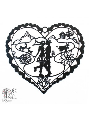 Dekoration Heidi in Love aus schwarz lakiertem Stahl 240mm