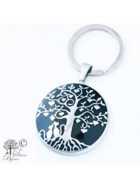 Schlüsselanhänger Lebensbaum aus Stahl emailliert