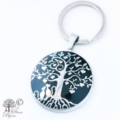 Steel key ring Tree of life enamelled