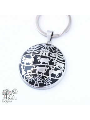 Steel key ring Poya enamelled