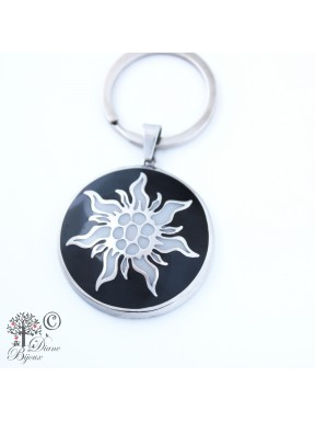 Steel key ring Edelweiss enamelled