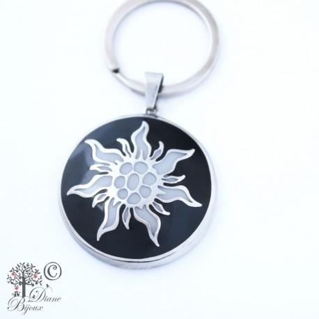 Steel key ring Edelweiss enamelled