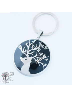 Steel key ring Singing Deer enamelled
