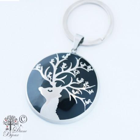 Steel key ring Singing Deer enamelled
