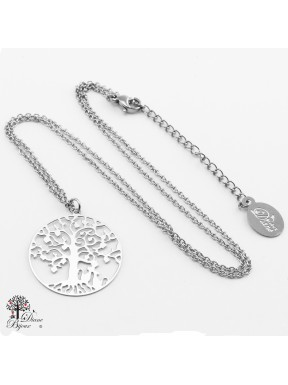Anhänger Lebensbaum 23 mm mit Halskette aus Edelstahl