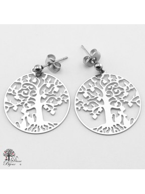 Stainless steel Earrings Tree of life 23mm