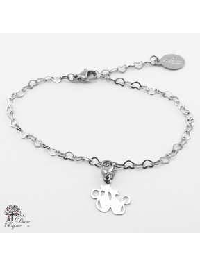 Stainless bracelet + mini pendant cat 11mm
