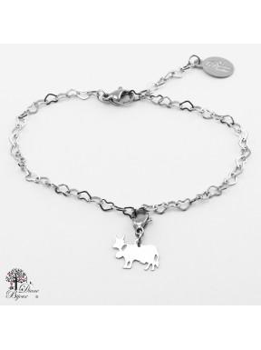 Mini accroche vache + bracelet en acier inox 11mm