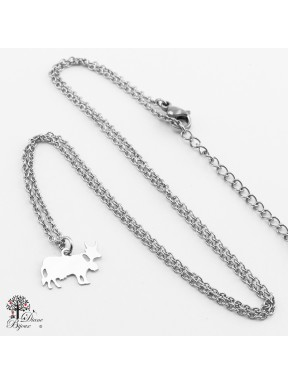Stainless steel mini Pendant cow + Chain 11mm