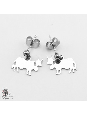 Mini stainless steel Earrings cow 11mm