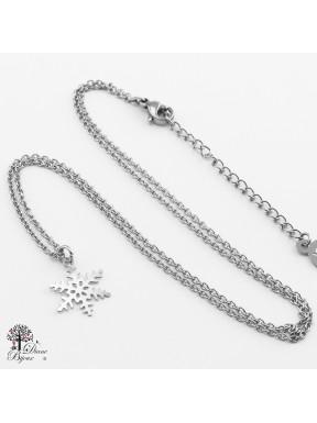 Mini pendentif flocon + collier en acier inox 11mm