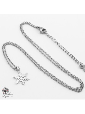 Stainless steel mini Pendant snow flake + Chain 11mm