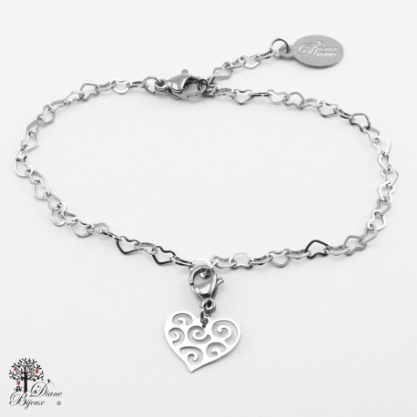 Mini accroche + bracelet en acier inox 11mm