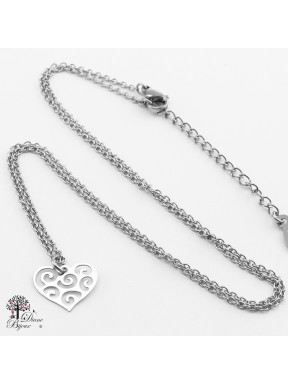 Stainless steel mini Pendant heart + Chain 11mm