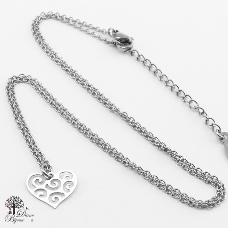 Mini pendentif + collier en acier inox 11mm