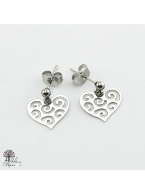 Mini stainless steel Earrings heart 11mm