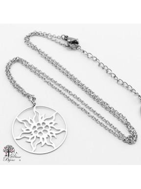 Anhänger Edelweiss 23 mm mit Halskette aus Edelstahl