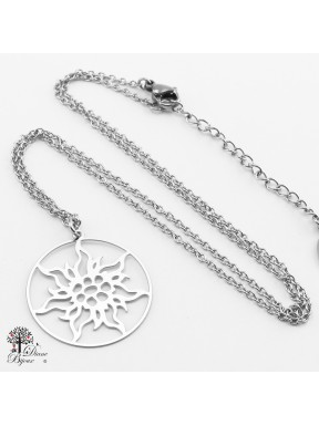 Stainless steel Pendant Edelweiss 23mm + Chain