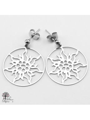 Stainless steel Earrings Edelweiss 23mm