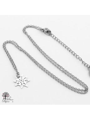Mini pendentif Edelweiss + collier en acier inox 11mm