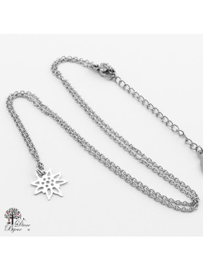 Stainless steel mini Pendant Edelweiss + Chain 11mm