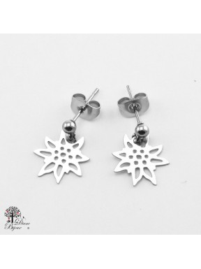 Mini stainless steel Earrings Edelweiss 11mm