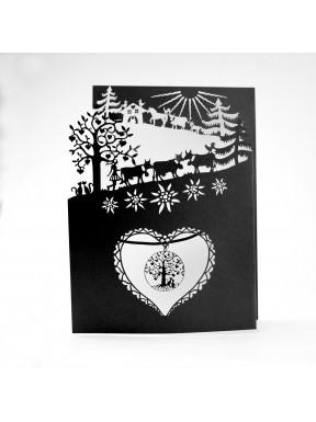 Carte Poya à 3 volets (n/b) avec pendentif Arbre de Vie