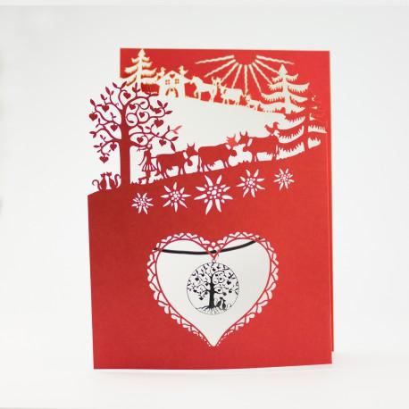 Carte Poya à 3 volets (r/b) avec pendentif Arbre de Vie