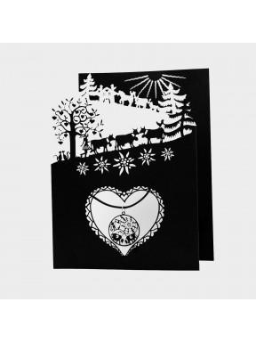 Carte Poya à 3 volets (n/b) avec pendentif Fête de la Montagne