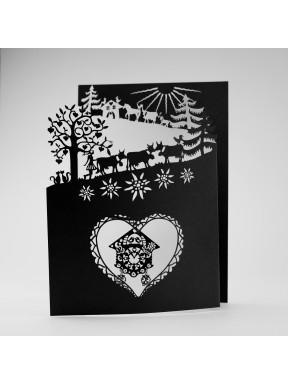 Carte Poya à 3 volets (n/b) avec pendentif CouCou d'Amour