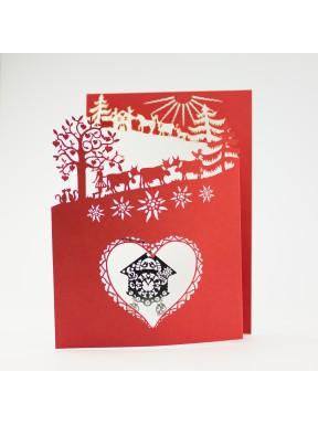 Carte Poya à 3 volets (r/b) avec pendentif CouCou d'Amour