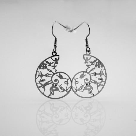 Boucles d'oreilles Spirale de la vie acier inox
